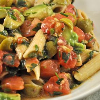 Fresh Tomato, Green Olive and Avocado Pasta