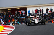 Kimi Raikkonen of Finland driving the (7) Alfa Romeo Racing C39 Ferrari on track during the F1 Grand Prix of Portugal at Autodromo Internacional do Algarve on October 25, 2020 in Portimao, Portugal.