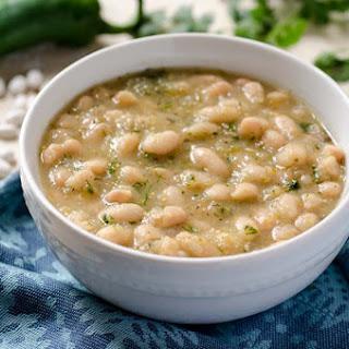 Tomatillo Poblano White Beans.