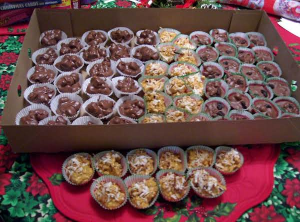 I Just Made 108 Pcs In 1 Hr. All Of These Pictured Here.. Rocky Road,butterscotch Toasted Coconut, & Raisin Clusters. Some Are Made With Chocolate Chips And Not The Almond Bark