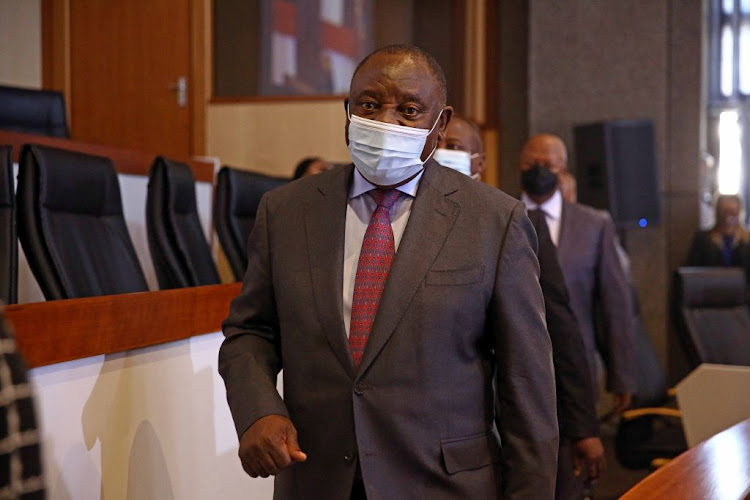 President Cyril Ramaphosa arrives at the state capture inquiry on April 29 2021 to testify in his capacity as the president of the ANC.