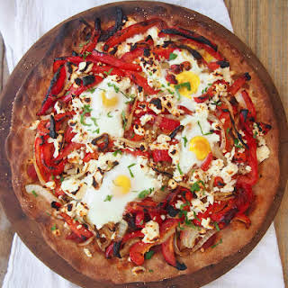 Whole Grain Pizza with Roasted Peppers and Eggs.