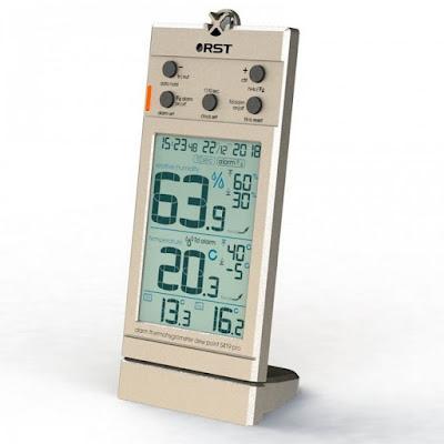 Термогигрометр цифровой большой дисплей шампань RST