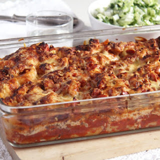 Light and Healthy Turkey and Cream Cheese Lasagna.