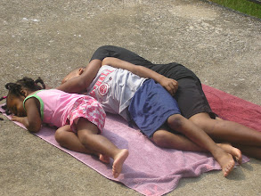 """Photo: 7/23/07 - Kaleya, Q and Miles """"catching rays"""""""