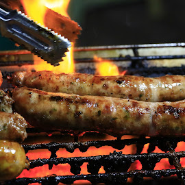 Flame Grilled Spice Pork Sausage by James Morris - Food & Drink Meats & Cheeses ( bbq, thai street food, sausage, spicy, travel, food )