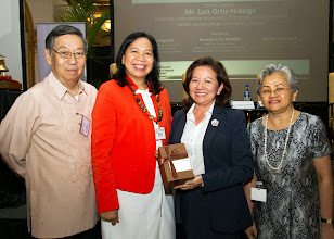 Photo: 22 August 2013 - General Monthly Meeting of FINEX. Benedicta Du-Baladad receives a token of appreciation from FINEX-Philippines presented by Victor Lim, Judith Lopez and Conchita Manabat