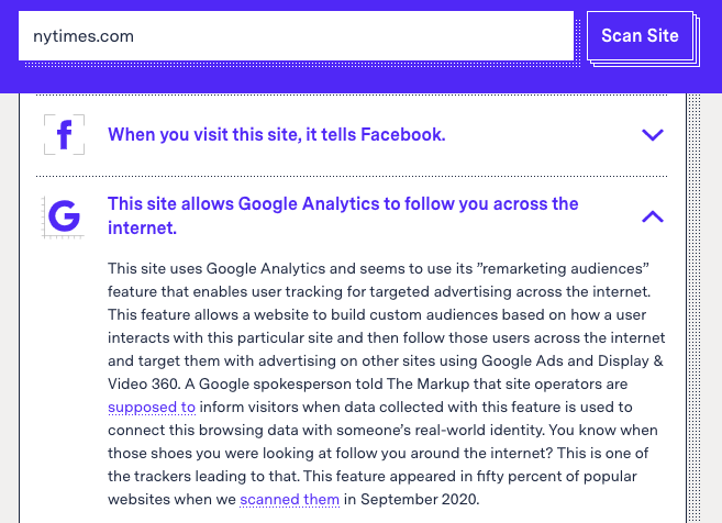Screenshot from The Markup's Blacklight tool, showing that the NYTime's landing page sends data through Google Analytics