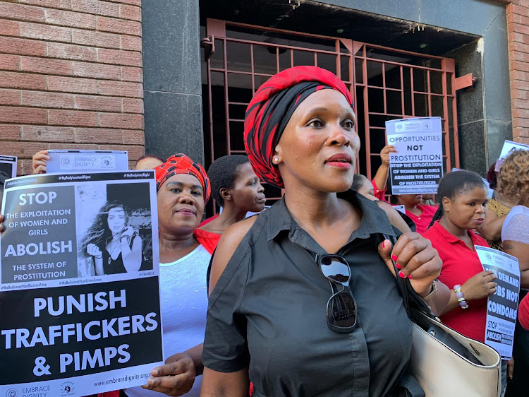 Mickey Meji, the founder of Kwanele, a survivor-led prostitution movement, outside the Durban High Court on Thursday.