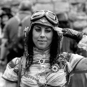 Steampunk Lady by Tristan Wright - Black & White Portraits & People ( black and white, event, woman, steampunk, portrait,  )