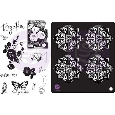 Prima Cling Rubber Stamps & Stencil - Lavender Frost UTGÅENDE