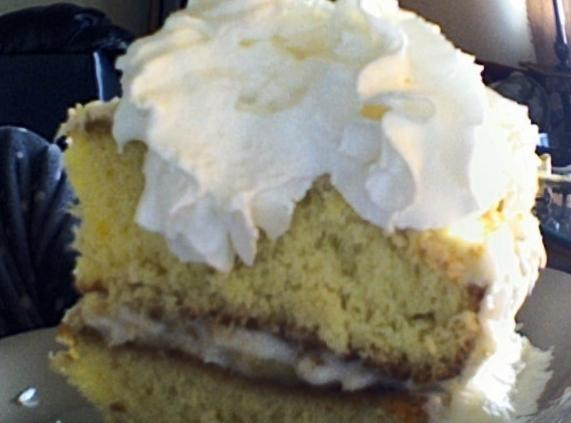 Thick Banana creme in between layers of Cake topped w/ loads of whip creme. Grab a fork and let the feasting begin!