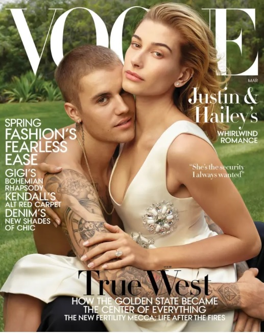 Justin and Hailey Bieber on the cover of the March issue of American Vogue.