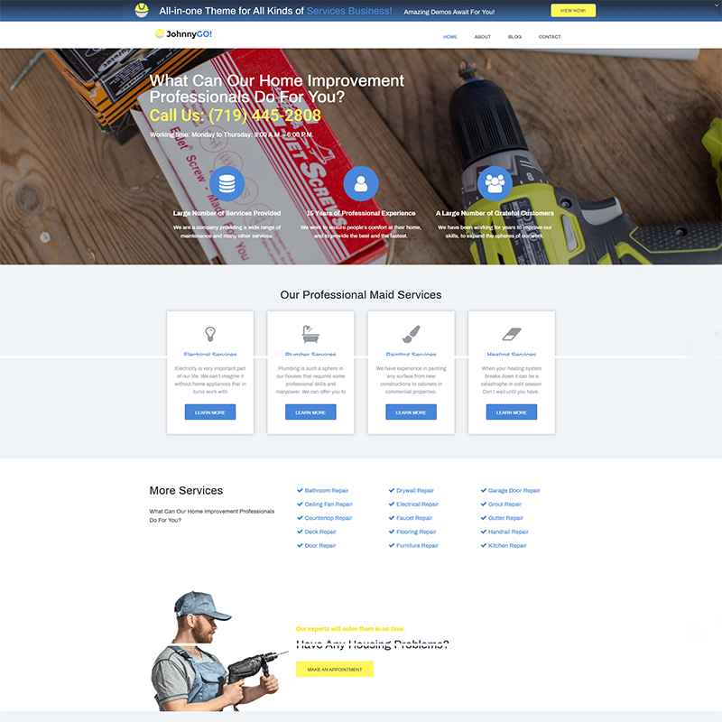 JohnnyGo Lite - Multipurpose Home Services Elementor WordPress Theme