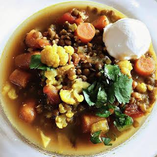 Moroccan Lentil Cauliflower Soup.