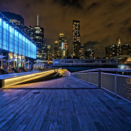 New York Skyline by Nick Remick - City,  Street & Park  Skylines ( cloudy, color, blue, new york city, night, nightscape, new york, colorful, high dynamic range )