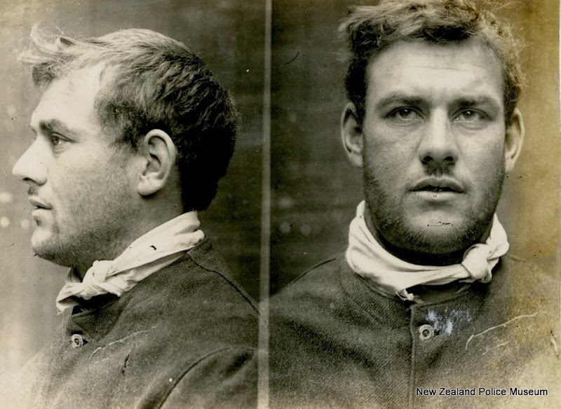 Photo: William Murray alias William Albert Murrary (b. 1881, New Zealand). Charged with resisting police and assault and sentenced to 3 months in gaol on 15 August 1907 (Auckland). A carpenter by trade, he had previous convictions for theft, drunkennes, resisting police and wilfil damage. He is described as having 'LMS', a female and an anchor tatooed on his right forearm and 'WMA' and two pierced hearts on his left forearm.