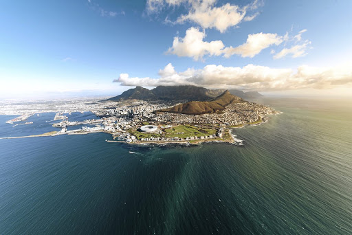 Views over the City of Cape Town and the sea.