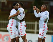 Mothobi Mvala of Highlands Park celebrates goal with team mates during the Absa Premiership match between Polokwane City and Highlands Park at Peter Mokaba Stadium on December 11 2018 in Polokwane. Mvala has moved up to the top of the league's goalscoring charts.