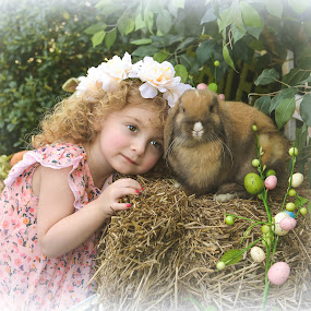 Dora and Cadbury by Marie Burns - Babies & Children Children Candids ( girl, easter, bunny, flowers, spring )
