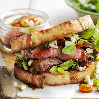 Steak Sandwich With Blue Cheese and Sweet-and-Sour Tomatoes