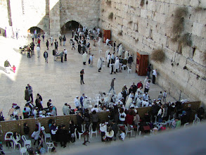 Photo: The Wall Plaza functions as a large open-air synagogue.