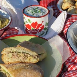 Lemony Tuna and Artichoke Cooler-Pressed Sandwiches.