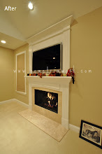 Photo: (After) Fireplace mantle and overmantle, fluted pillars and header Chester Springs, PA