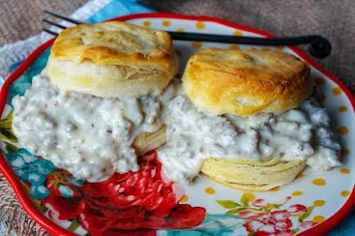 """Spicy Sausage Gravy for Biscuits""""Thanks to my son, my recipe is a..."""