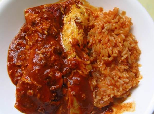 Picante Rice Served With Cheater Enchiladas (alternative Method)