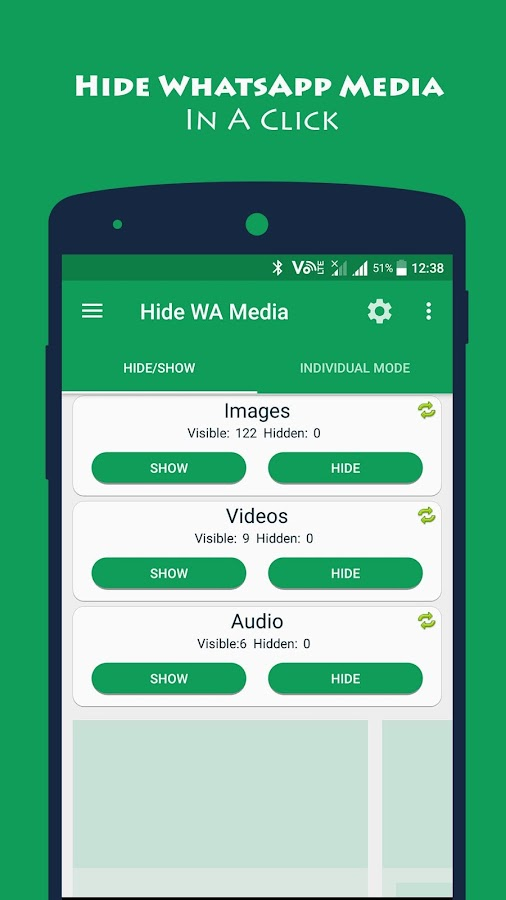 Hide Whatsapp Image Video & 🎧
