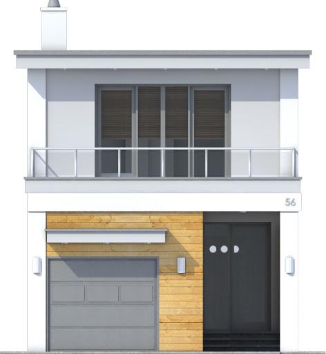 Long z garażem 1-st. A - Elewacja przednia