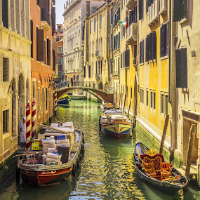 Quite Backwater Canal Venice Italy by Graham Mulrooney - City,  Street & Park  Historic Districts ( water, vertical, reflection, building, northern italy, boats, reflections, boat, canal, world heritage site, venetian, backwater, gondola, colourful, mediterranean, venice, italy,  )