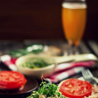 Bison-Apple Burgers with Sage-Jalapeno Pesto & Smoked Blue Cheese