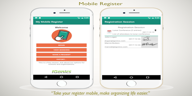 Mobile Register - náhled