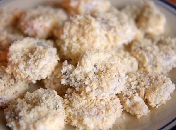 Dredge shrimp in cornstarch.