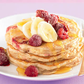 Banana, Raspberry and Ricotta Pancakes.