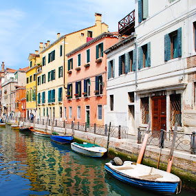 by Tyler Sleap - Landscapes Travel ( reflection, boats, venice, italy, canal, sidewalk )