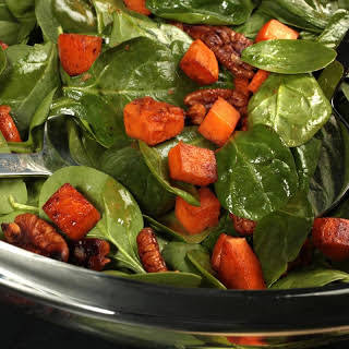 Warm Spinach Salad with Smoky Pecans and Sweet Potato.