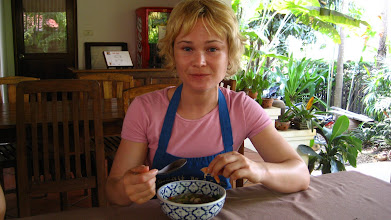 Photo: Ashley spooning some Tom Yam Goong or Hot & Sour Soup
