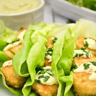 Gardein Crabless Cakes Lettuce Wraps with Creamy Avocado Sauce.