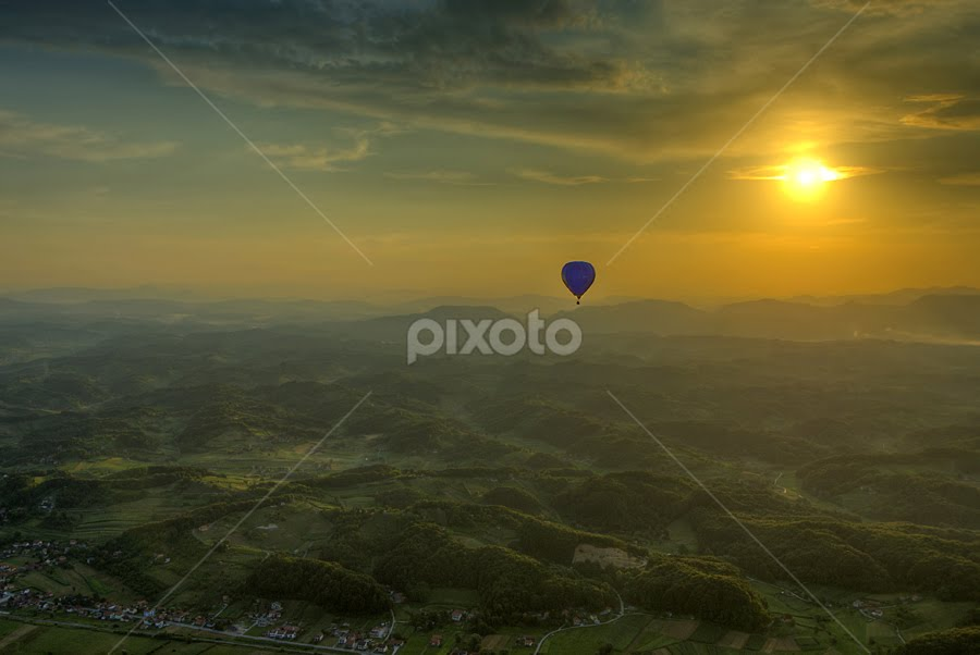 Ballooning by Boris Frković - Landscapes Mountains & Hills ( clouds, free, sky, blue, sunset, balloon, zagorje )