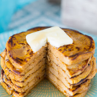 Five-Ingredient Pumpkin Protein Pancakes (low-carb, gluten-free, refined sugar–free).