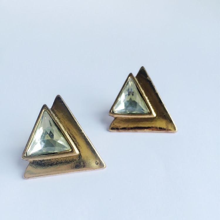 E021 - G. Chevron Crystal Earrings