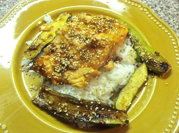 General Tso Grilled Salmon W/veggies