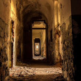 Enchanted castle by Martin Namesny - Buildings & Architecture Decaying & Abandoned ( old, sad, corridor, destruction, lock, enchanted, castle, abandoned )