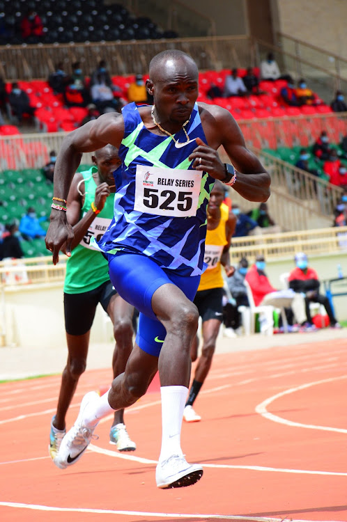 World 800m bronze medalist Ferguson Rotich sprints to victory in Heat 6 of the 400m men's race during the 2nd leg of the AK Relay Series at Nyayo Stadium.