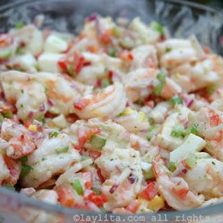 Shrimp Salad With Cilantro Mayonnaise.