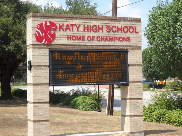 Sign at Katy High School - Note the variable message.
