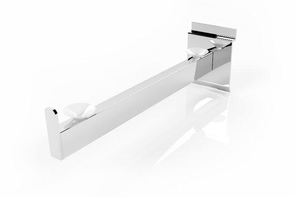accesorio retail brazo metálico para repisa de vridrio para panel ranurado